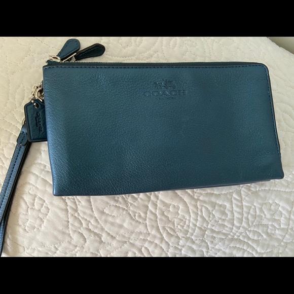 Coach Double Zip Wallet - teal